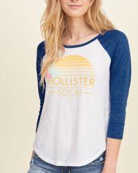 Hollister - Blue Raglan Logo Graphic Tee - Lyst