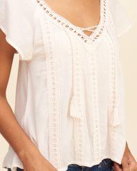 Hollister - Multicolor Flutter-sleeve Lace-up Top - Lyst