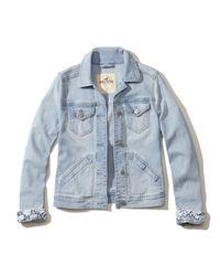 Hollister Brown Lace Cuff Denim Jacket