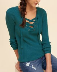 Hollister - Blue Lace-up Ribbed Sweater - Lyst