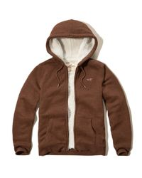 Hollister | Brown Textured Sherpa Lined Hoodie for Men | Lyst
