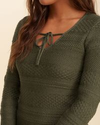 Hollister - Blue Tie-neck Sweater Dress - Lyst
