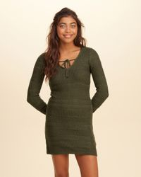 Hollister - Blue Tie-neck Sweater Dress - Lyst