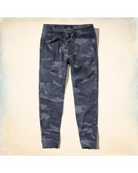 Hollister - Blue Advanced Stretch Camo Twill Jogger Pants for Men - Lyst