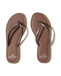 Hollister | Brown Mixed Strap Flip Flop | Lyst