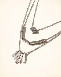 Hollister - Metallic Mixed Metal Layered Necklace - Lyst