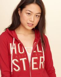 Hollister - Red Logo Graphic Hoodie - Lyst