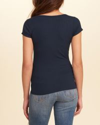 Hollister Blue Strappy Ribbed T-shirt