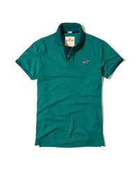 Hollister | Green Stretch Pique Icon Polo for Men | Lyst