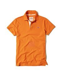 Hollister | Orange Stretch Pique Icon Polo for Men | Lyst