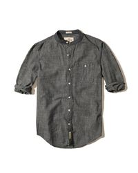 Hollister | Gray Banded Collar Chambray Shirt for Men | Lyst