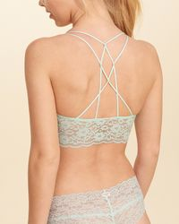 Hollister | Green Strappy Lace Longline Bralette With Removable Pads | Lyst