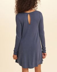 Hollister - Blue Sueded Knit Swing Dress - Lyst