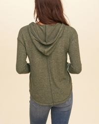Hollister Green Textured Fleece Hoodie