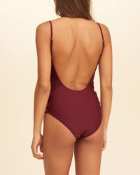 Hollister Red Strappy Low-back One-piece Swimsuit
