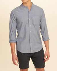 Hollister Blue Stretch Banded Collar Oxford Shirt for men