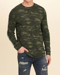 Hollister Green Camo Logo Graphic Tee for men