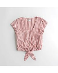 Hollister - Red Girls Tie-front Crop Shirt From Hollister - Lyst