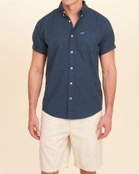 Hollister - Blue Stretch Short-sleeve Poplin Shirt for Men - Lyst