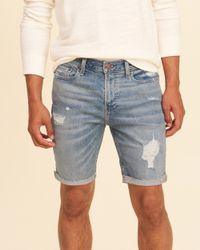Hollister Blue Classic Fit Denim Shorts for men