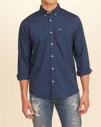 Hollister Blue Guys Stretch Oxford Shirt From Hollister for men