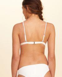Hollister White Lace-trim Triangle Bikini Top
