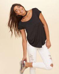 Hollister Black Must-have On Or Off The Shoulder Easy Pocket T-shirt
