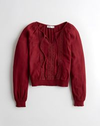 Hollister Red Notch-neck Peasant Top