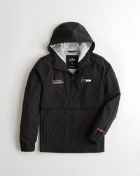 Hollister Black Mesh-lined Half-zip Hooded Windbreaker for men