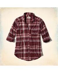 Hollister Red Oversized Flannel Shirt for men