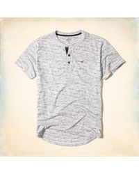 Hollister - Gray Must-have Textured Henley for Men - Lyst