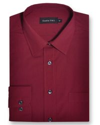 Double Two Red King Size Classic Plain Long-sleeve Shirt for men