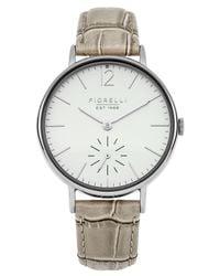 Fiorelli - Metallic Ladies Taupe Croc Leather Strap Watch - Lyst