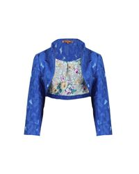Jolie Moi Blue Textured Stand Collar Bolero