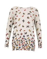 Izabel London Gray Knitted Butterfly Print Top