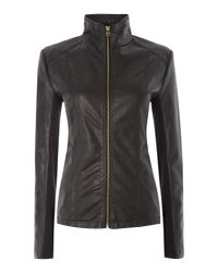Andrew Marc - Black Pu Jacket With Central Zip - Lyst