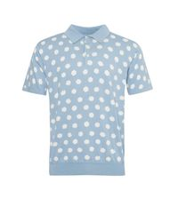 French Connection Blue Men's Superfine Hibiscus Dot Knit Polo Shirt for men