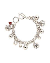Guess   Metallic Rhodim Bauble Bracelet   Lyst