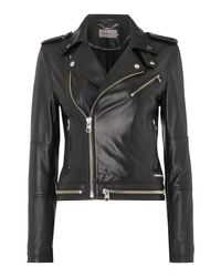 Calvin Klein Black Moza Biker Jacket In Soft Leather