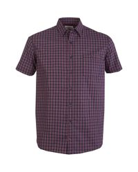 Double Two Red 100% Cotton Short Sleeve Check Shirt for men