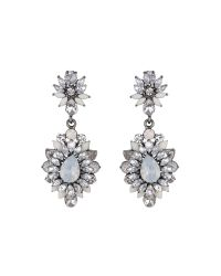 Mikey | White Drop Flower Crystal Earring | Lyst