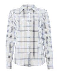 Gant - White Long Sleeved Check Shirt - Lyst
