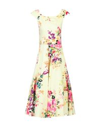 Jolie Moi Yellow Floral Print Scoop Neck Swing Dress