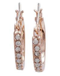 Anne Klein   Metallic Mini Hoop Crystal Earrings   Lyst
