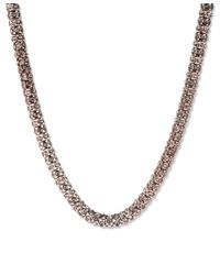 Anne Klein | Metallic Rose Gold Pave Necklace | Lyst