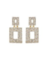 Mikey | Metallic Square Design Crystal Studded Earring | Lyst