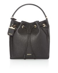 DKNY | Black French Grain Leather Shoulder Bag | Lyst