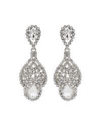 Mikey | Metallic Long Filgree Crystal Spread Drop Earring | Lyst