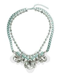 Mikey | Blue Coloured Box Chain With Crystal Pendant | Lyst