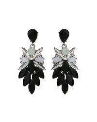 Mikey | Black Drop Leaf Crystals Earring | Lyst